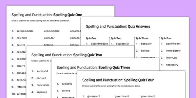 Spelling and Punctuation Common Spelling Errors Quiz Pack - spelling, punctuation, spelling