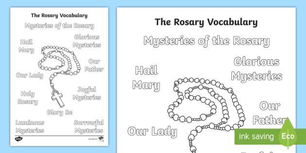 The Rosary Vocabulary Colouring Page - Rosary, mary, month of the holy rosary, mysteries of the rosary, praying the rosary, catholic
