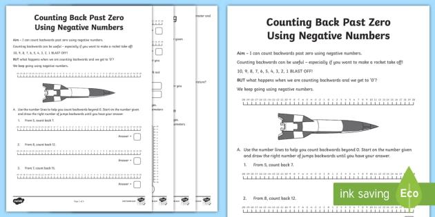 Counting Back Past Zero Using Negative Numbers Worksheet / Worksheet