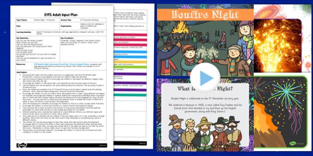ICT Firework Painting EYFS Adult Input Plan and Resource Pack - ict, firework, painting, eyfs