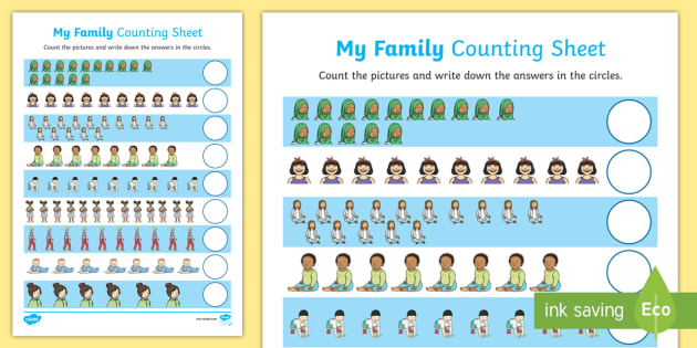 My Family Up to 15 Counting Worksheet / Activity Sheet