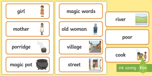 The Magic Porridge Pot Word Cards - magic, porridge, pot, little girl, lady, magic pot, cook, magic words,word card, flashcards, cards