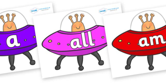 Foundation Stage 2 Keywords on Spaceships - FS2, CLL, keywords, Communication language and literacy,  Display, Key words, high frequency words, foundation stage literacy, DfES Letters and Sounds, Letters and Sounds, spelling