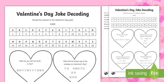 Valentine S Day Joke Decoding Activity Valentine S Day