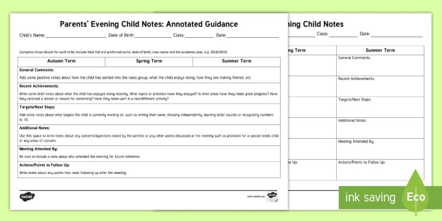 new eyfs parents evening child notes form eyfs early years