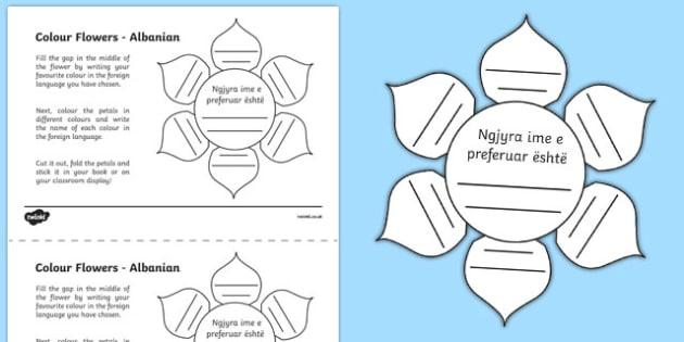 MFL Albanian Colour Flowers Worksheet / Activity Sheet, worksheet