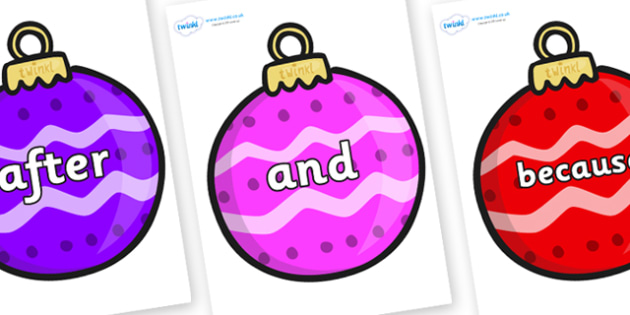 Connectives on Patterned Baubles (Multicolour) - Connectives, VCOP, connective resources, connectives display words, connective displays