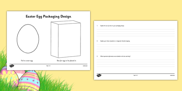 Easter Egg Packaging Design Template - australia, Easter Egg, Easter, design, technology, art, visual art, drawing, template, worksheet, packaging, box