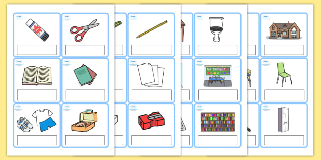 editable everyday objects at school cards editable every day