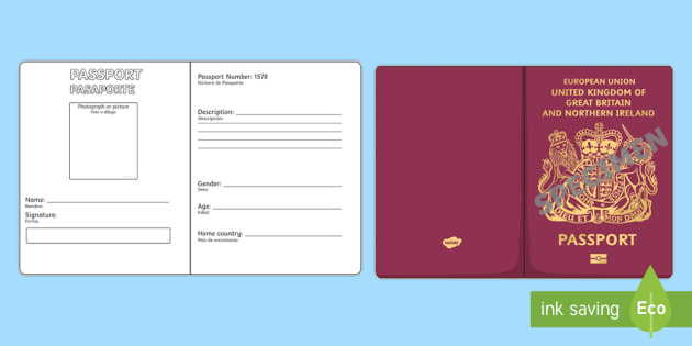 New  British Passport Writing Template  English  Spanish