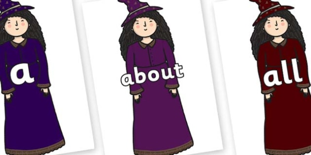100 High Frequency Words on Witches - High frequency words, hfw, DfES Letters and Sounds, Letters and Sounds, display words