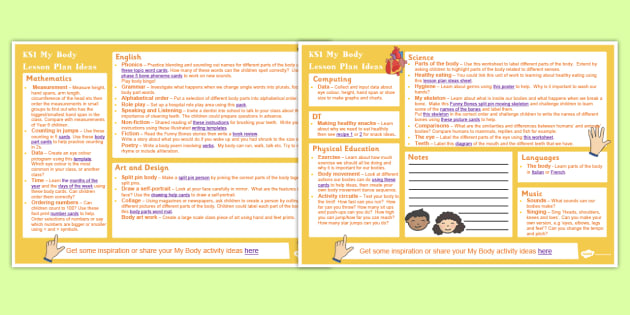My Body KS1 Lesson Plan Ideas - lesson plan, ks1, my body, ideas