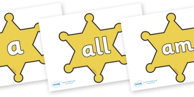 Foundation Stage 2 Keywords on Sheriffs Badges - FS2, CLL, keywords, Communication language and literacy,  Display, Key words, high frequency words, foundation stage literacy, DfES Letters and Sounds, Letters and Sounds, spelling