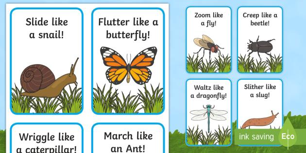 Minibeast Action Cards (teacher made)