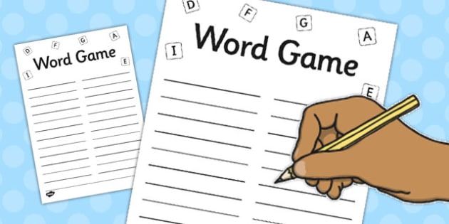 Word Game Display Pack Game Sheets - word game, pack, game, sheets