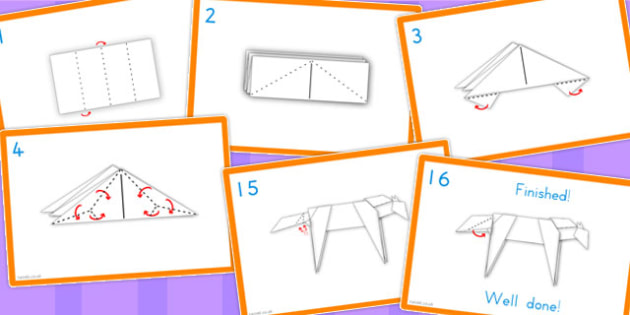Chinese New Year Origami Horse Instructions Activity Flash Cards
