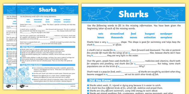 Australian Animals Years 3-6 Sharks Differentiated Cloze Passage Worksheet / Activity Sheet - australia, Australian Curriculum, animals, fish, differentiated, cloze, fast finisher, information, reading,austrailia,austrila,australua,austraila,aniamls,