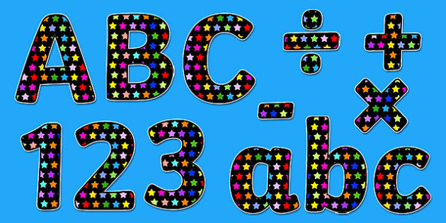 Multicoloured Star Themed A4 Display Lettering - star, letters