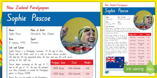 Sophie Pascoe Paralympian Fact File