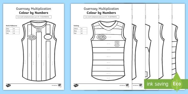 AFL Multiplication Colour by Number - AFL, AFL Maths, colour by number, multiplication, aCMNA075,Australia