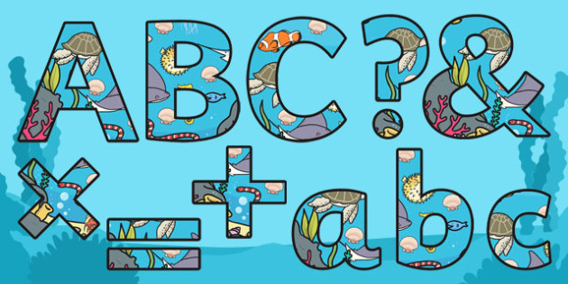 Under the Sea Themed Display Lettering Size Editable - display