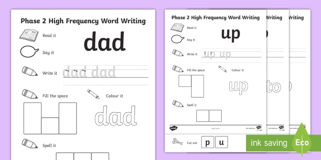 high frequency word writing activities