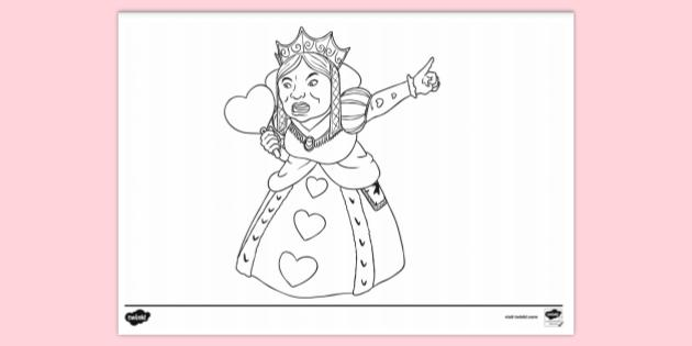 Free Alice In Wonderland Queen Of Hearts Colouring Sheets