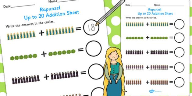 Rapunzel Up to 20 Addition Sheet - addition, sheet, rapunzel