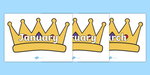 Months of the Year on Crowns - Months of the Year, Months poster, Months display, display, poster, frieze, Months, month, January, February, March, April, May, June, July, August, September