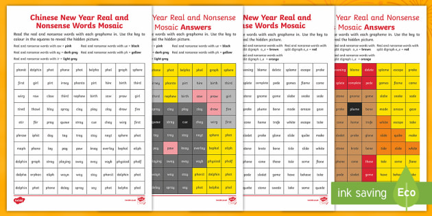 chinese new year phase 5 real and nonsense words mosaic worksheet. Black Bedroom Furniture Sets. Home Design Ideas