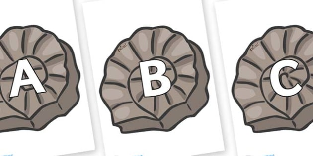A-Z Alphabet on Fossils - A-Z, A4, display, Alphabet frieze, Display letters, Letter posters, A-Z letters, Alphabet flashcards