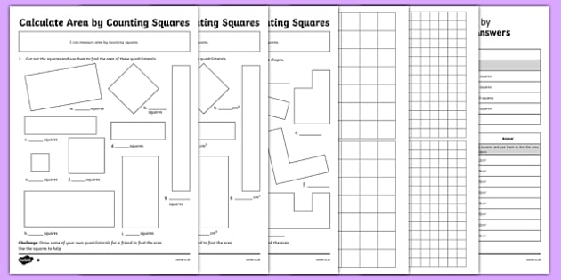 Year 4 Calculate Area by Counting Squares Activity Sheet Pack, worksheet