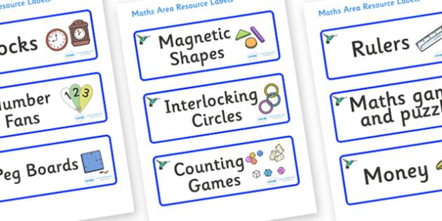 Hummingbird Themed Editable Maths Area Resource Labels - Themed maths resource labels, maths area resources, Label template, Resource Label, Name Labels, Editable Labels, Drawer Labels, KS1 Labels, Foundation Labels, Foundation Stage Labels, Teaching