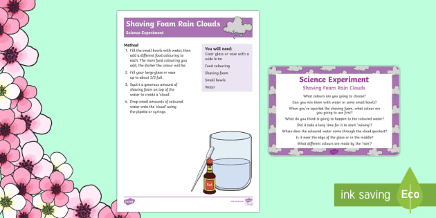 Shaving Foam Rain Clouds Science Experiment - EYFS, rain, weather, clouds