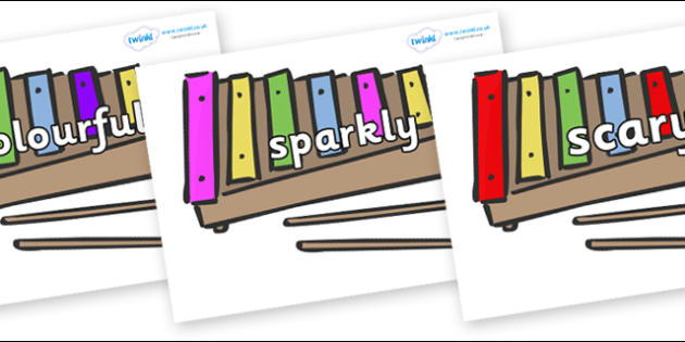 Wow Words on Glockenspiels - Wow words, adjectives, VCOP, describing, Wow, display, poster, wow display, tasty, scary, ugly, beautiful, colourful sharp, bouncy