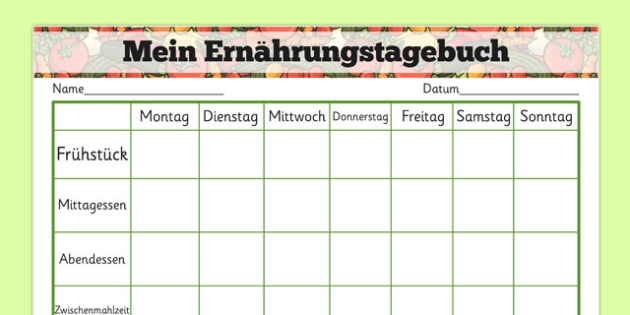 Mein Ernährungstagebuch Healthy Eating My Food Journal German - german, healthy eating, healthy eating food journal, food journal, food diary, healthy eating food diary, food table, food record