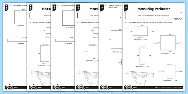 Measuring Perimeter in Centimetres Differentiated Worksheet