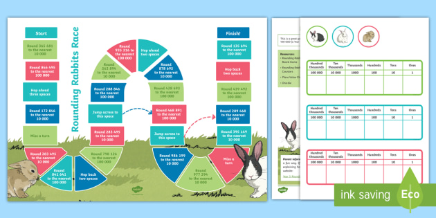 Rounding Rabbits Maths Board Game - KS2 Maths Working from home
