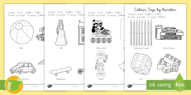 A1 Colorear Con Números Juguetes Inglés Toys Juegos