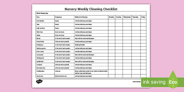 Cleaning Chart For Nursery Classroom Weekly Cleaning List