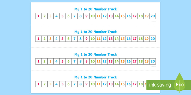 Numbers 1 20 Number Track Maths Math Number Track Numbertrack