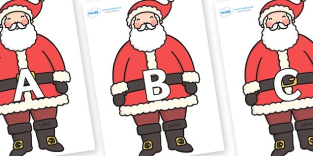 A-Z Alphabet on Santa - A-Z, A4, display, Alphabet frieze, Display letters, Letter posters, A-Z letters, Alphabet flashcards