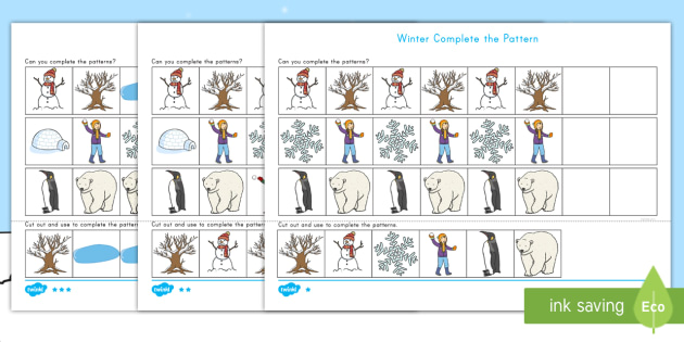 Winter-Themed Complete the Pattern Activity Sheet - English (United States) - winter, pattern, fine motor skills, complete the pattern