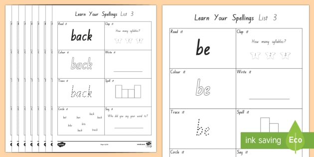 Learn Your New Zealand Essential Spelling List 3 Words Activity Sheets