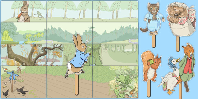 Beatrix Potter Small World Background and Stick Puppets Pack - beatrix potter, small world background, stick puppets, role play