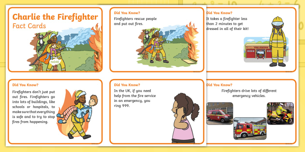Charlie the Firefighter Fact Cards - Twinkl Originals