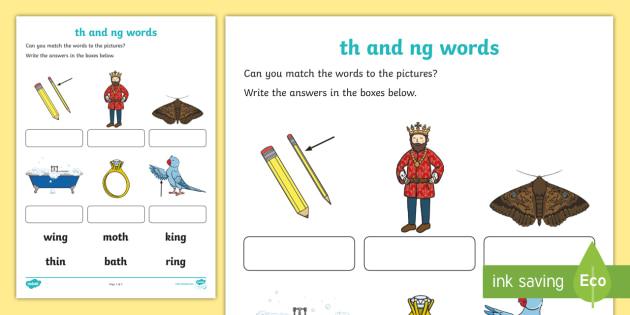 Th and ng sounds matching activity worksheet worksheet save resource ibookread ePUb