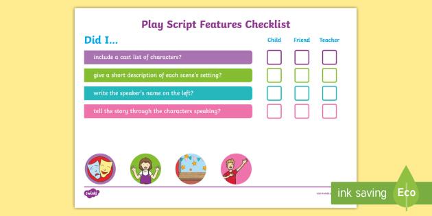 KS1 Play Script Checklist - setting features, setting