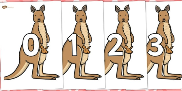 Numbers 0-100 on Kangaroos - 0-100, foundation stage numeracy, Number recognition, Number flashcards, counting, number frieze, Display numbers, number posters