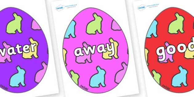 Next 200 Common Words on Easter Eggs (Rabbits) - Next 200 Common Words on  - DfES Letters and Sounds, Letters and Sounds, Letters and sounds words, Common words, 200 common words